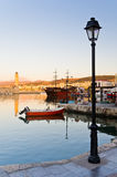 Rhetymno old harbour at the evening Stock Images