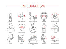 Rheumatism. Vector icons. Rheumatism Symptoms, Treatment. Line icons set. Vector signs for web graphics Stock Photos
