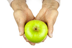 Rheumatoid arthritis hands and fruits Stock Photo