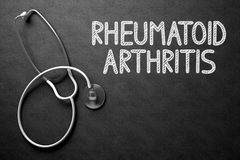 Rheumatoid Arthritis - Text on Chalkboard. 3D Illustration. Medical Concept: Black Chalkboard with Rheumatoid Arthritis. Medical Concept: Black Chalkboard with Stock Photo