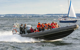 RHIB with passengers off Gdynia Poland Royalty Free Stock Image