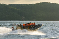 RHIB with passengers off Gdynia Poland Royalty Free Stock Photos