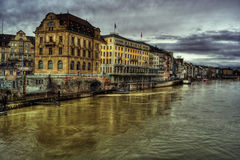 Rhine In Basel HDR Stock Images