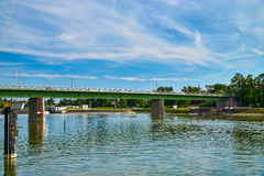 Rhine bridge and canal lock Royalty Free Stock Photography