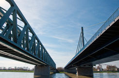 Rhine bridge Maximiliansau in Karlsruhe Stock Photos