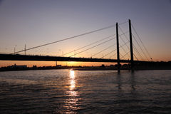 Rhine bridge at sunset. Dusseldorf Stock Photos