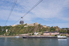 Rhine cable car with Fortress Ehrenbreitstein Stock Photo
