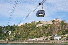 Rhine cable car with Fortress Ehrenbreitstein Royalty Free Stock Photos