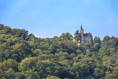 Rhine Castle. A medieval castle overlooks the Rhine River in Germany Stock Photo