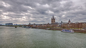 Rhine in Cologne with the Great St. Martin Church Stock Photography