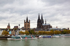 Rhine Embankment in Cologne, Germany, Royalty Free Stock Image