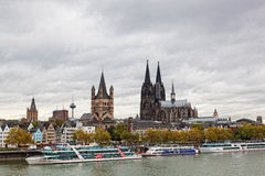Rhine Embankment in Cologne, Germany Royalty Free Stock Images