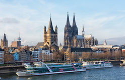 Rhine Embankment in Cologne Royalty Free Stock Photos