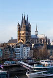 Rhine Embankment and Saint Martin's cathedral. Stock Images