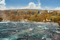 The Rhine Falls and castle Laufen, Switzerland Stock Photo