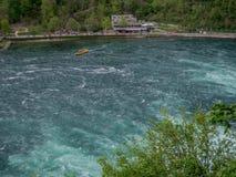 Rhine Falls i Schweiz tidig v?rtid fotografering för bildbyråer
