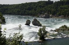 Rhine Falls. The falls are located on the Upper Rhine between the municipalities of Neuhausen am Rheinfall and Laufen-Uhwiesen, near the town of Schaffhausen in Royalty Free Stock Image