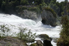 Rhine Falls. The falls are located on the Upper Rhine between the municipalities of Neuhausen am Rheinfall and Laufen-Uhwiesen, near the town of Schaffhausen in Stock Photo