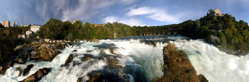 Rhine falls near Schaffhausen. 200° panorama. Panoramic picture of the biggest European waterfall in Switzerland. On the right side Castle Lauffen royalty free stock photos