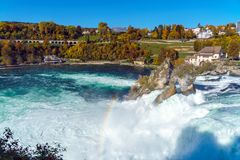 The Rhine Falls near Zurich at Indian summer, waterfall in Switz. The Rhine Falls near Zurich at Indian summer, largest waterfall in Switzerland Royalty Free Stock Photography