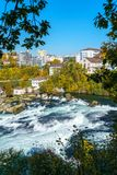 The Rhine Falls near Zurich at Indian summer, waterfall in Switz. The Rhine Falls near Zurich at Indian summer, largest waterfall in Switzerland Royalty Free Stock Image