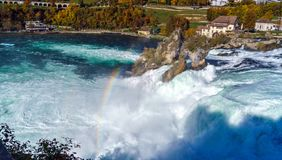The Rhine Falls near Zurich at Indian summer, waterfall in Switz. The Rhine Falls near Zurich at Indian summer, largest waterfall in Switzerland Stock Photography
