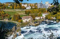 The Rhine Falls near Zurich at Indian summer, waterfall in Switz. The Rhine Falls near Zurich at Indian summer, largest waterfall in Switzerland Royalty Free Stock Photo