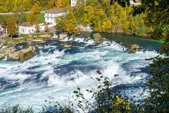 The Rhine Falls near Zurich at Indian summer, waterfall in Switz. The Rhine Falls near Zurich at Indian summer, largest waterfall in Switzerland Stock Photos