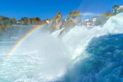 The Rhine Falls near Zurich at Indian summer, waterfall in Switz. The Rhine Falls near Zurich at Indian summer, largest waterfall in Switzerland Stock Images