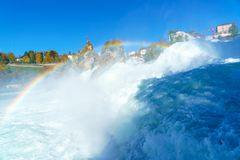 The Rhine Falls near Zurich at Indian summer, waterfall in Switz. The Rhine Falls near Zurich at Indian summer, largest waterfall in Switzerland Royalty Free Stock Images