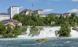 Rhine Falls. Neuhausen am Rheinfall, Switzerland - 10 May, 2015: the Rhine Falls. The Rhine Falls is the largest plain waterfall in Europe, located on the Rhine Stock Photography
