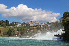 Rhine Falls in Schaffhausen, Switzerland. The Rhine Falls in Schaffhausen, Switzerland. The Rhine Falls is the largest waterfall in Europe Stock Photo
