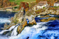 Rhine Falls in Switzerland, the largest waterfall in Europe Royalty Free Stock Images
