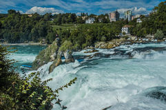 Rhine Falls water flow and rocks. Switzerland Stock Photo