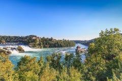 Rhine Falls y castillo Laufen Fotografía de archivo