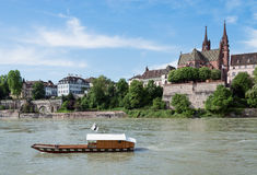 Rhine With Ferry. Old wooden Ferry crossing the Rhine river at Basel, Switzerland Stock Photography