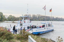 The Rhine ferry at Zons Stock Photos