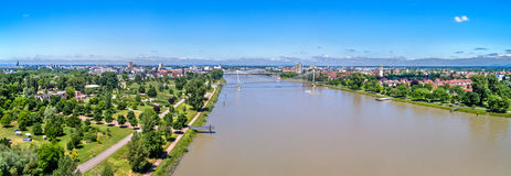 The Rhine between the French city of Strasbourg and the German town of Kehl Royalty Free Stock Image