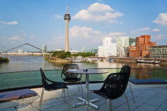 Rhine harbor in Düsseldorf stock images