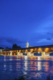 The Rhine with historic bridge and Fridolins minster Royalty Free Stock Photo