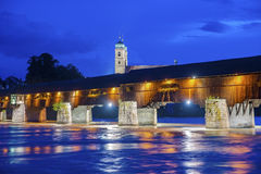 The Rhine with historic bridge and Fridolins minster Royalty Free Stock Photography