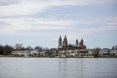 Rhine i katedra przy Speyer Zdjęcie Stock