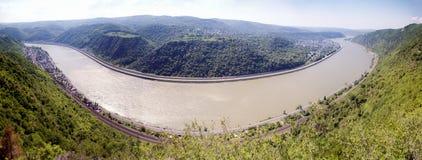 Rhine loop at Spay Panorama Stock Images