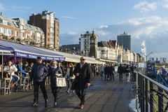 Rhine promenade with its restaurants and bars in Dusseldorf, Ger Royalty Free Stock Photo