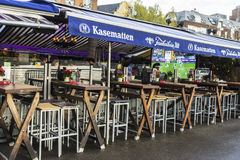Rhine promenade with its restaurants and bars in Dusseldorf, Ger Royalty Free Stock Photography