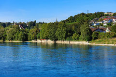 The Rhine river above the Rhine Falls in Switzerland Stock Photo