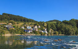 The Rhine river above the Rhine Falls in Switzerland Stock Photos
