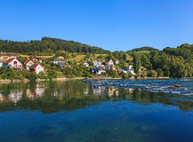 The Rhine river above the Rhine Falls in Switzerland Royalty Free Stock Photography