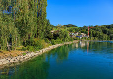 The Rhine river above the Rhine Falls in Switzerland Royalty Free Stock Image