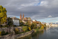 Rhine river and Basel Minster Royalty Free Stock Image